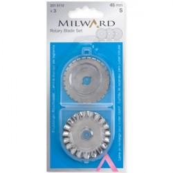 Náhradní čepel OZDOBNÁ na řezací kolečko na patchwork MILWARD 251 5112 - 45 mm, sada 3 ks