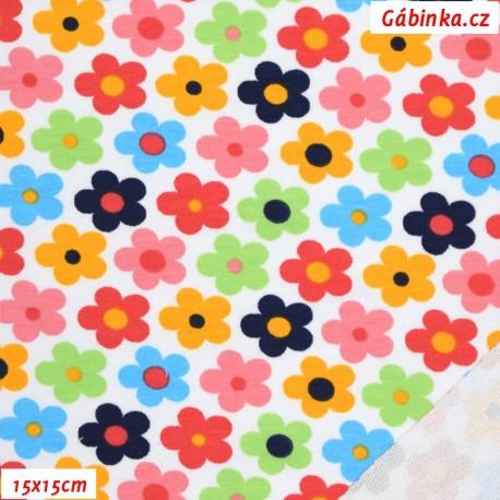 Teplákovina s EL 92/8 - Kytičky barevné na bílé, 15x15 cm