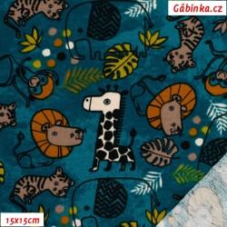 Teplákovina s EL POPPY - SAFARI ANIMALS na tmavě petrolejové, šíře 150 cm, 10 cm, ATEST 1