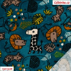 Teplákovina s EL - Safari Animals na tmavě petrolejové, 15x15 cm
