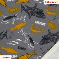 Teplákovina s EL - AWESOME SHARKS, Žraloci na šedé, 15x15 cm