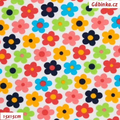 Úplet s EL 92/8 - Kytičky barevné na bílé, 15x15 cm
