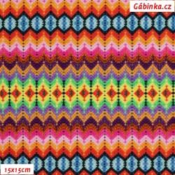 Úplet s EL Digitální tisk - Spark of HAPPINESS, Háčkovaný vzor, šíře 140 cm, 10 cm, ATEST 1