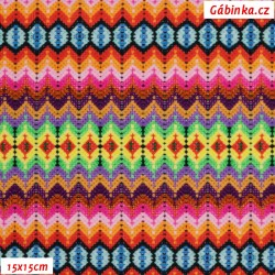 Úplet s EL Digitální tisk - Spark of HAPPINESS, Háčkovaný vzor, 15x15 cm