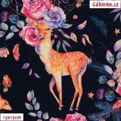 Úplet s EL Digitální tisk - DEER LOVER, Jeleni s růžemi, 15x15 cm