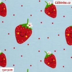 Úplet s EL BIPP - Usměvavé jahody, šíře 140 cm, 10 cm, ATEST 1