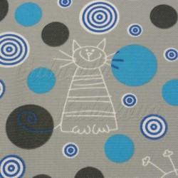 Kočárkovina MAT, Kočky na šedé s tyrkysovými kolečky, šíře 160 cm, 10 cm, Atest 1