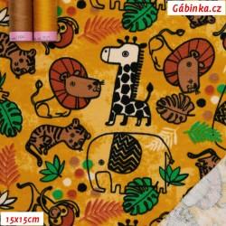 Teplákovina s EL - SAFARI ANIMALS na hořčicové, ATEST 1, 15x15 cm