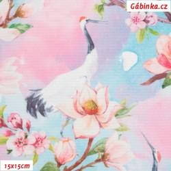 Kočárkovina Premium, Ptáčci s rozkvetlými růžovými květy, 15x15 cm