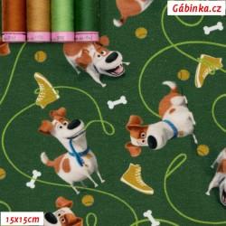 Úplet s EL Digitální tisk - Tajný život mazlíčků LICENCE - Pejsci na zelené, 15x15 cm
