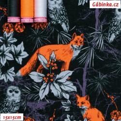 Úplet s EL Digitální tisk - Forest by Night - NEON lišky v temném lese, 15x15 cm