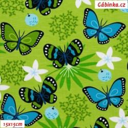 Úplet s EL - Motýlci na zelené louce, 15x15 cm