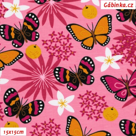 Úplet s EL - Motýlci na růžové louce, ATEST 2, 15x15 cm
