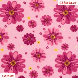 Úplet s EL - Květinky na růžové, ATEST 2, 15x15 cm