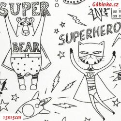 Plátno - Superhrdinové, černé obrysy na bílé, 15x15 cm