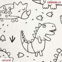 Plátno - Dinosauři, černé obrysy na bílé, 15x15 cm