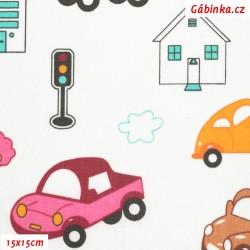 Plátno - Barevná autíčka s domečky a semafory na bílé, 15x15 cm