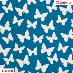 Plátno - Bílí motýlci na tmavě tyrkysové, 15x15 cm