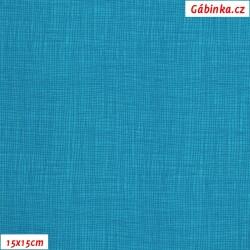 Plátno - Síťovaný vzor tmavě tyrkysový, šíře 140 cm, 10 cm