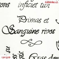 Plátno - Nápisy černé na bílé, 15x15 cm