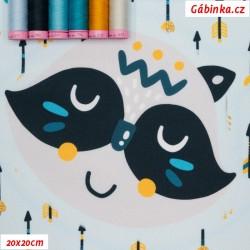 Kočárkovina Premium PANEL, Zvířátka indiáni na světle modré, 15x15 cm