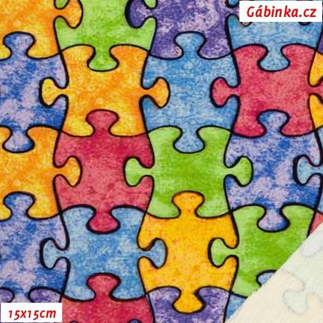 Teplákovina s EL Digitální tisk - Barevné puzzle, 15x15 cm