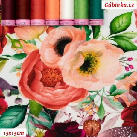 Úplet s EL - Kvetoucí zahrada na bílé, 15x15 cm