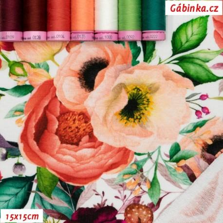 Teplákovina s EL - Kvetoucí zahrada na bílé, 15x15 cm