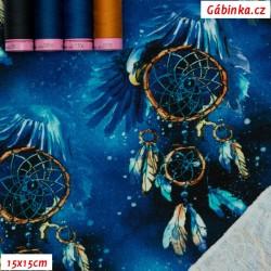 Teplákovina s EL - Lapače snů na tmavě modré, 15x15 cm