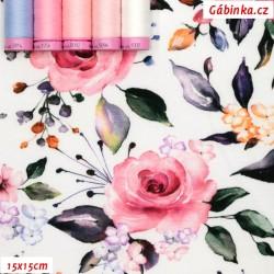 Úplet s EL - Růže na bílé, 15x15 cm