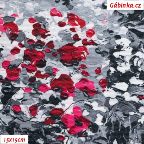 Kočárkovina Premium - Malované kytičky růžovošedé, 15x15 cm