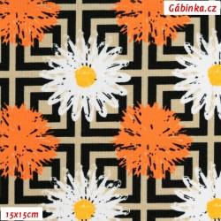 Kočárkovina MAT, Kopretiny s oranžovou kytkou na béžových proužcích, 15x15 cm