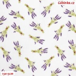 Plátno - Levandule snopy malé na bílé, 15x15 cm