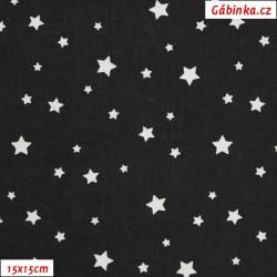 Plátno - Hvězdičky malé různé bílé na černé, 15x15 cm