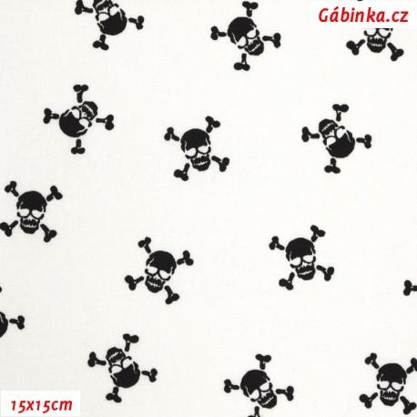 Plátno - Lebky černé na bílé, 15x15 cm