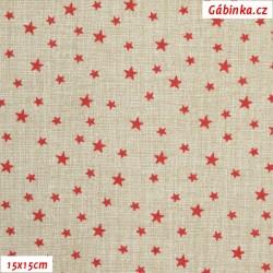Plátno - Hvězdičky červené na béžové lněné půdě, šíře 140 cm, 10 cm, ATEST 1