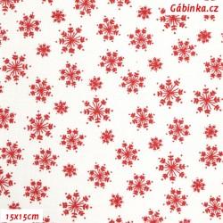 Plátno - Vločky červené na bílé, 15x15 cm