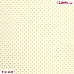 Plátno - Zlaté MINI puntíky na světle žluté, 15x15 cm