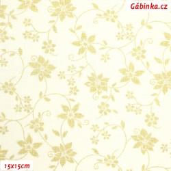 Plátno - Zlatá vánoční hvězda na světle žluté, 15x15 cm