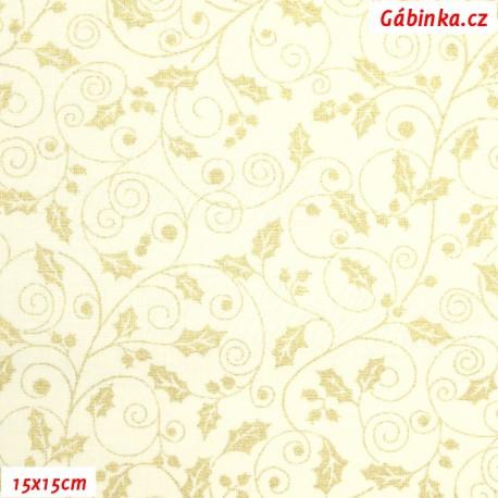 Plátno - Zlaté lístečky vánoční hvězdy na světle žluté, 15x15 cm