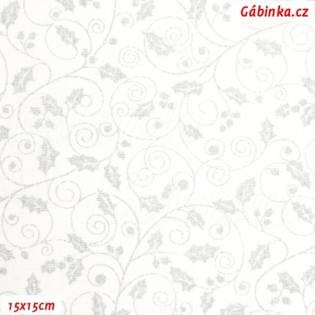 Plátno - Stříbrné lístečky vánoční hvězdy na bílé, 15x15 cm