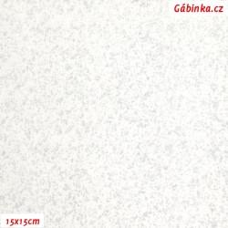 Plátno - Stříbrné mihotání na bílé, 15x15 cm