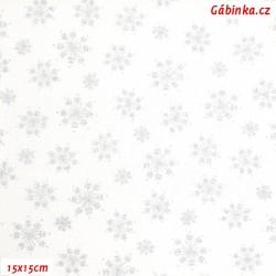 Plátno - Stříbrné vločky na bílé, 15x15 cm