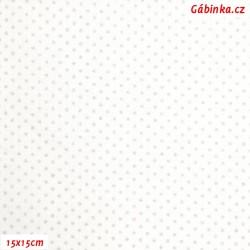Plátno - Stříbrné MINI puntíky na bílé, 15x15 cm