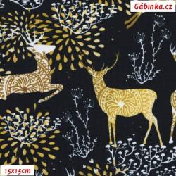 Kočárkovina Premium, Jeleni na černé, vzor 8 cm, 15x15 cm
