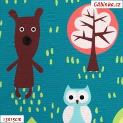 Kočárkovina Premium, Zvířátka v lese, šíře 157 cm, 10 cm, ATEST 1