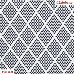 Kočárkovina, Kosočtverce z puntíků tm. modré na bílé, 15x15 cm