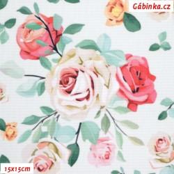 Kočárkovina Primax, Růže na sv. mentolové, 15x15 cm