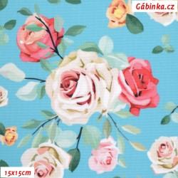 Kočárkovina Primax, Růže na tyrkysové, 15x15 cm