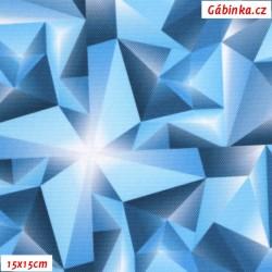 Kočárkovina Primax, Krystaly tyrkysové, šíře 160 cm, 10 cm